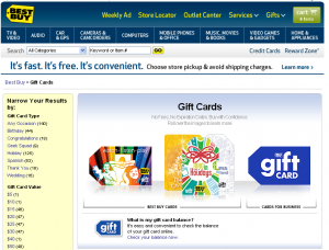 Best Buy Gift Cards (click to enlarge)