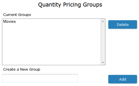 Quanity Pricing Groups