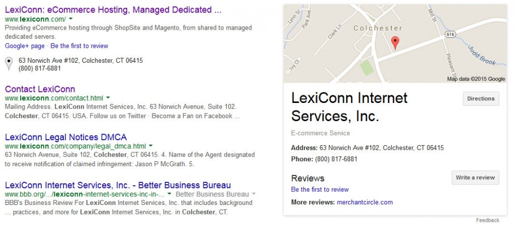 Google My Business in sarch results
