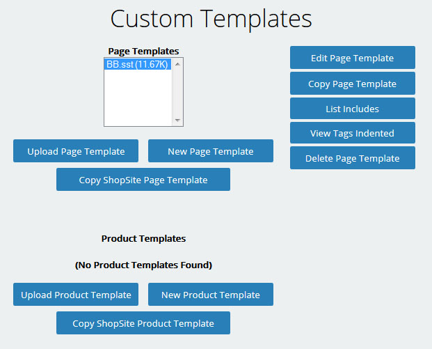 Page & Product Templates Screen