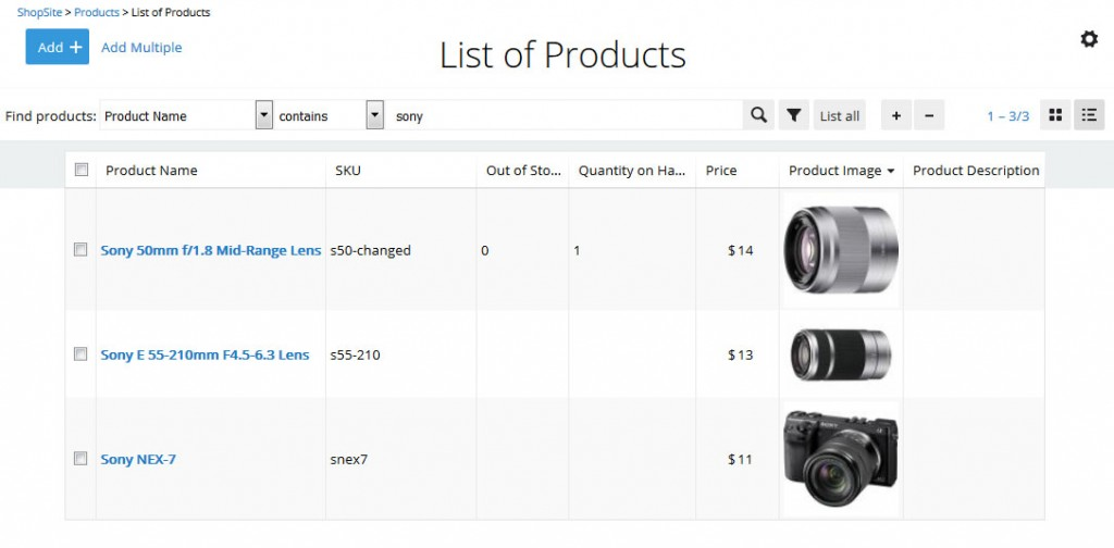New Product List Screen