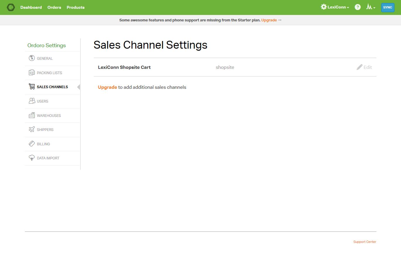 Ordoro - Settings - Sales Channels