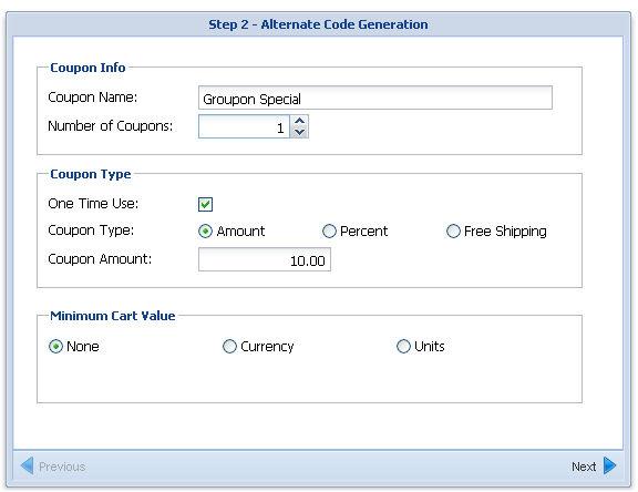 Coupon code creation screenshot