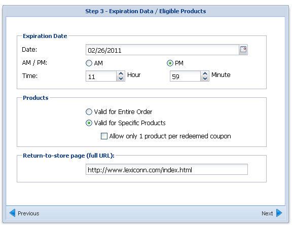 coupon creation step 3 screenshot