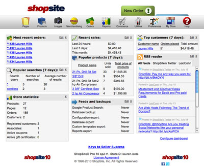 ShopSite Back Office Dashboard